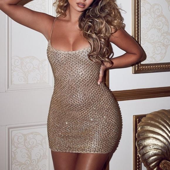 4d4c6ed97331 Oh Polly Dresses | Hailey Baldwin Gold Dress Nwt | Poshmark